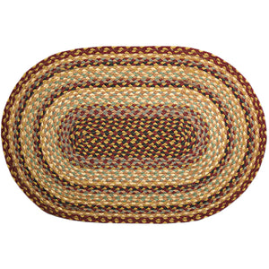 Braided Rug Burgundy and Gold jute rug.