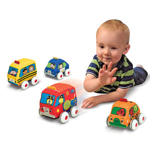 Baby playing with cars
