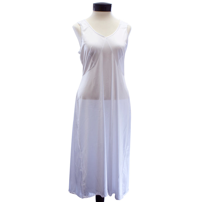 Women's white slip with wide straps.