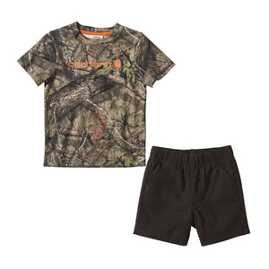 Mossy Oark camo t-shirt and shorts