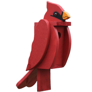 painted wooden cardinal shaped birdhouse