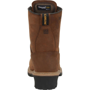 Carolina mens 8 inch insulated steel toe logger heel view