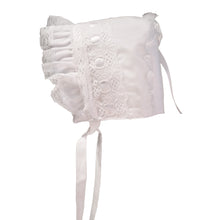 White Ribbon baby with white eyelet and satin ribbon.