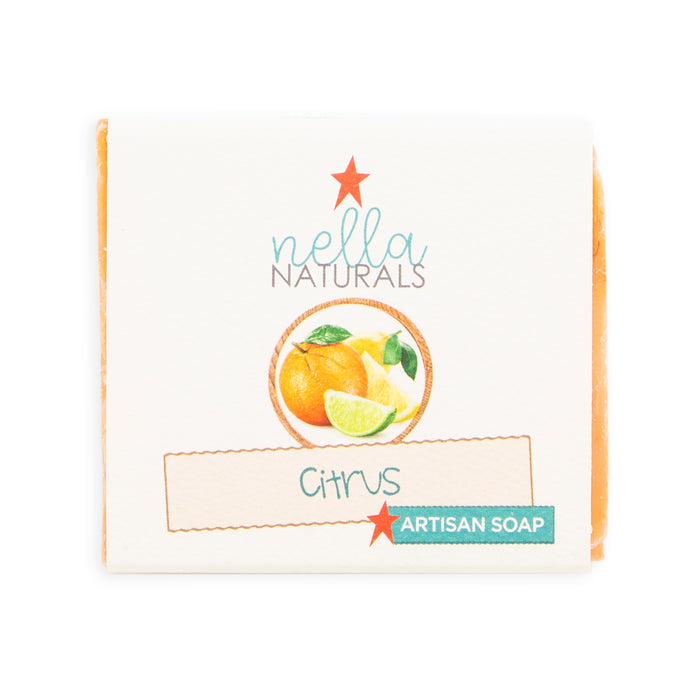 Citrus bar soap in wrapper