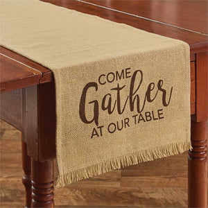 come gather at our table burlap runner park designs