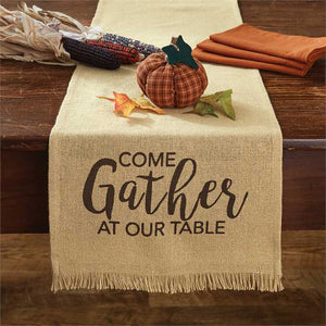 come gather at our table burlap runner park designs with accents