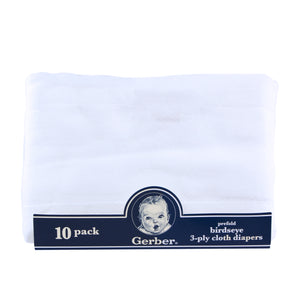 10-pack Gerber cloth diapers, prefold.