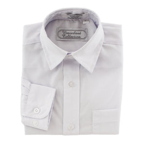Long-sleeved white boy's dress shirt.