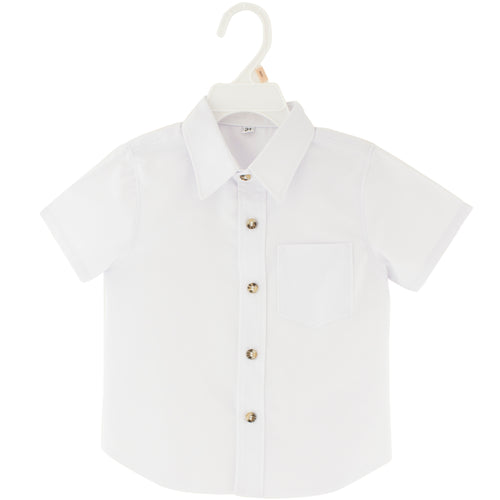 White shirt with brown buttons