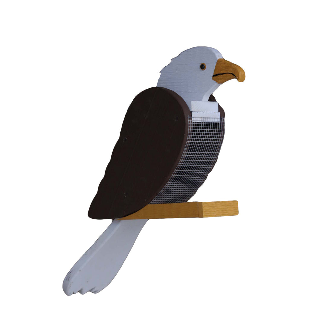 Large wooden birdfeeder shaped and painted to look like a bald eagle.