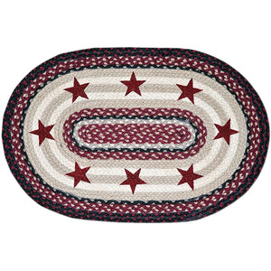 Braided Star Rug Burgundy and Black
