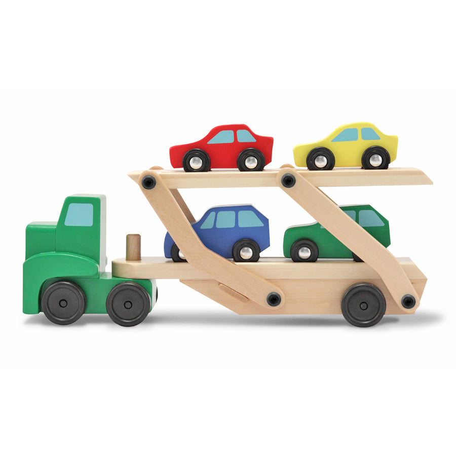 Wooden car carrier toy
