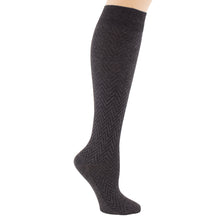 Women's charcoal grey knee sock, chevron pattern.