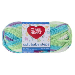 Tickle Print Red Heart Yarn (green, blue, purple, and white yarn).