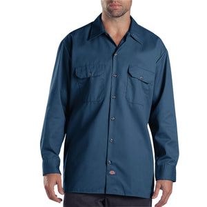 Navy Dickies work shirt.