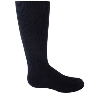 Girl's black knee-high sock.