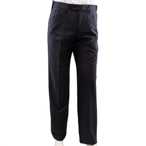Plain front black dress pants.