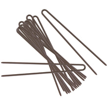 Brown coated straight hairpins.