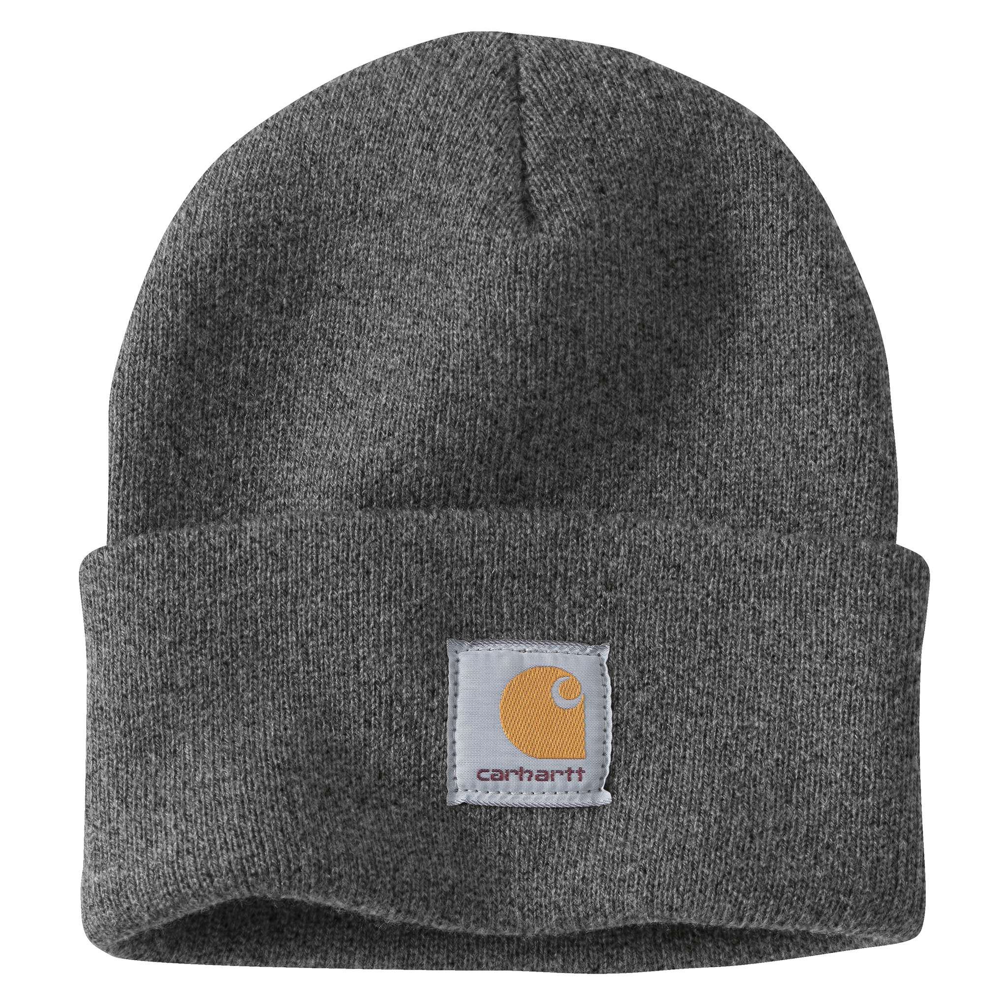 9b555e0c83e ... Coal Heather Carhartt beanie with Carhartt label stitched on front ...