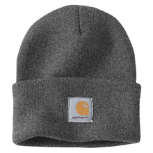 Coal Heather Carhartt beanie with Carhartt label stitched on front