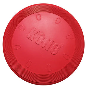 Kong flyer, rubber disc to play fetch with dog.