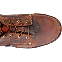 Top view, Carolina work boots with removable kiltie.