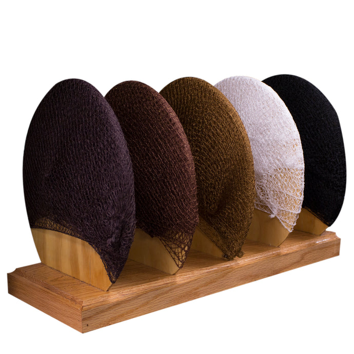 5 colors of hairnets on display.