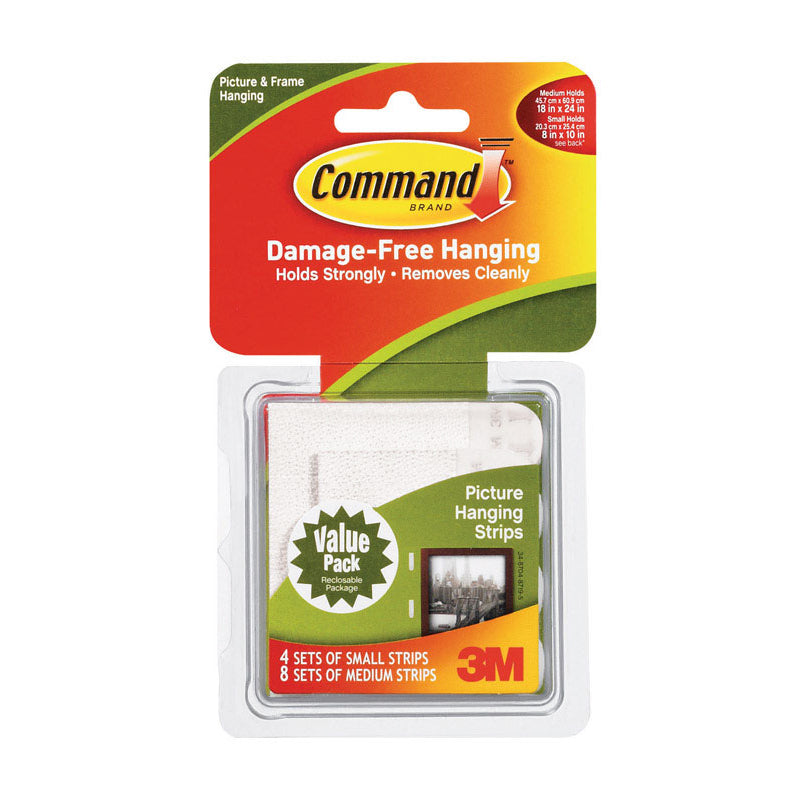 Package of 3M Command picture hanging strips, 4 sets small, 8 sets medium.
