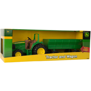 John Deere toy tractore and wagon.