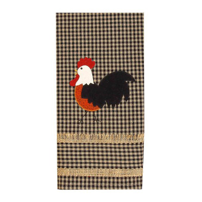 Brown checked 100% cotton dishtowel with rooster design.