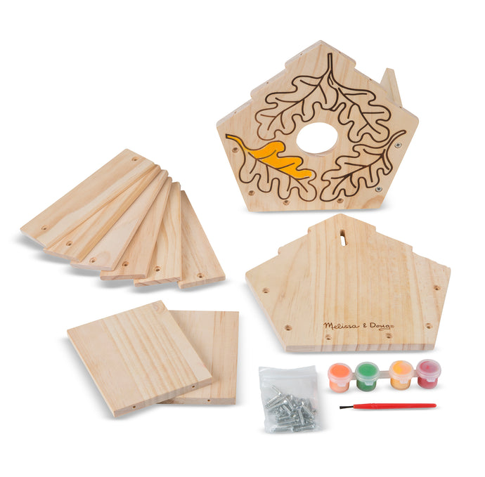 Build your own wooden birdhouse, includeds wooden sides and roof, screws, and paint and paint brush.