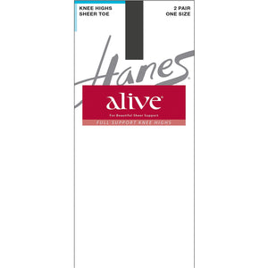 Hanes Alive Support Hose Barely Black.