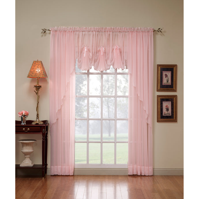Rose volie sheer curtains