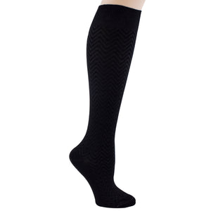 Women's black knee sock, chevron pattern.