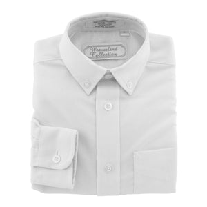 Boys' white dress shirt, oxford long-sleeved shirt.