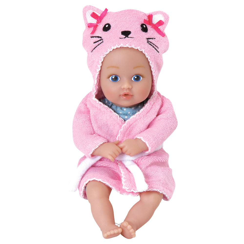 Doll in kitty robe.
