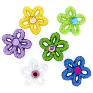 Glue on sparkle flower buttons