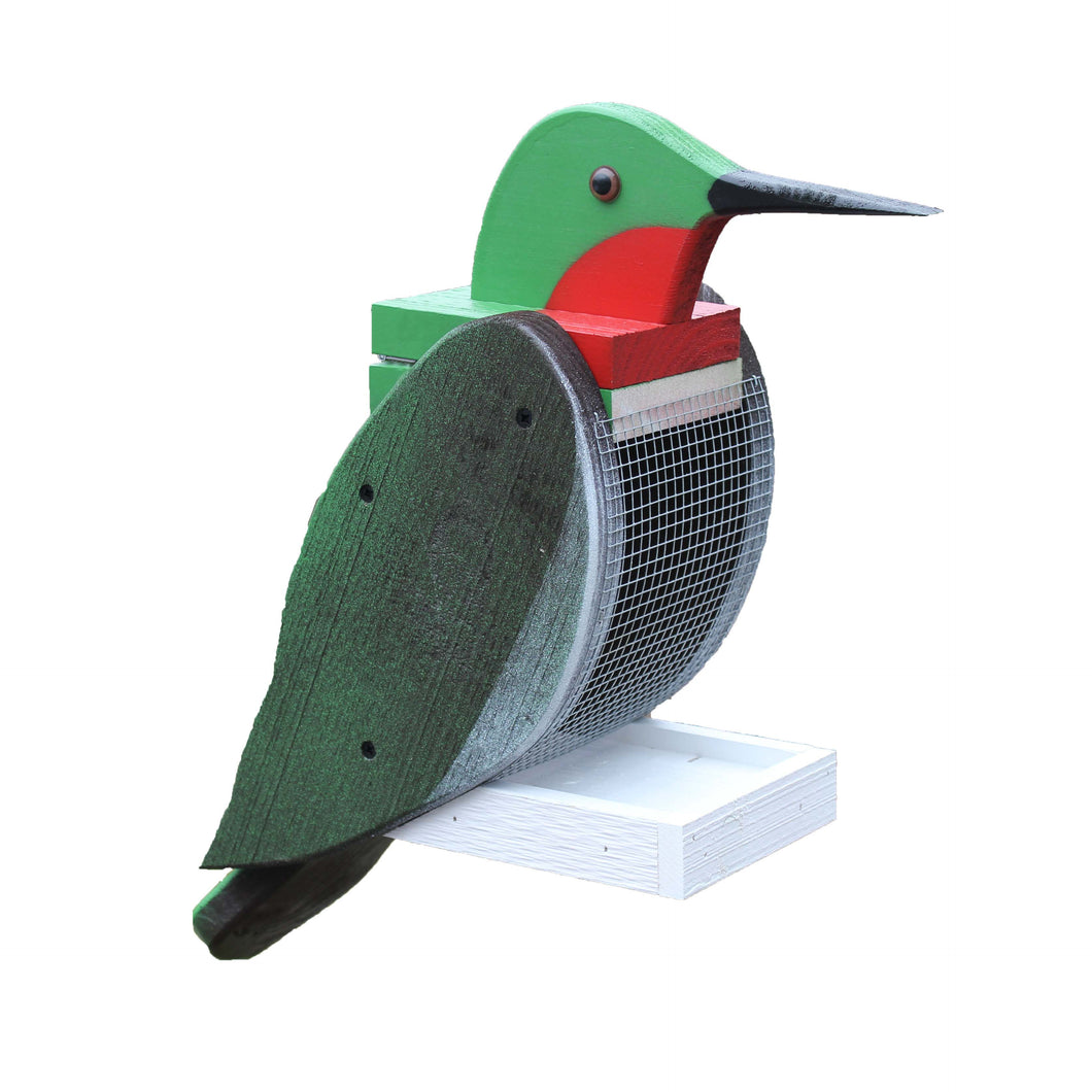 Large wooden birdfeeder painted to look like a hummingbird.
