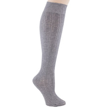 Gray knee-high socks.