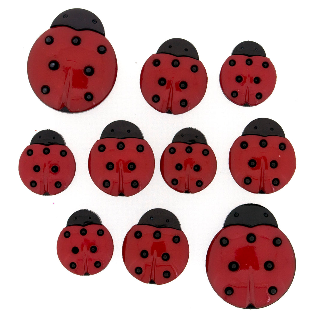 Ladybug Buttons in assorted sizes.