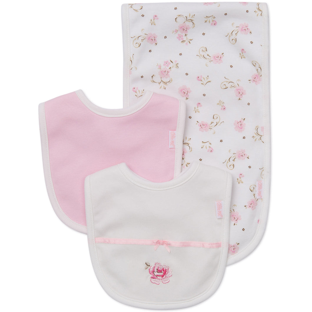 Floral rose bibs & burp cloth