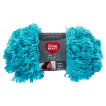 Aqua Blue Red Heart furry yarn