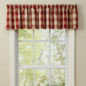 Red check curtain valance