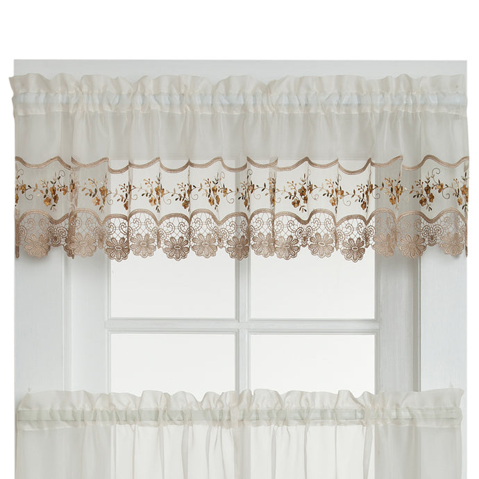 Gold lacy valance curtain