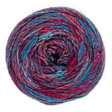 Gossip pink, blue, red, and purple yarn