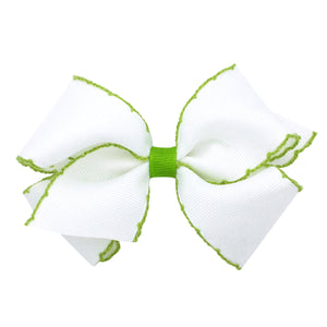 White and green hair bow