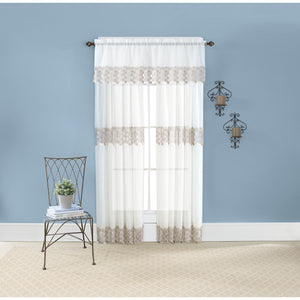 Ivory lace edged curtains