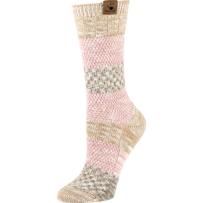 Ivory and pink women's socks
