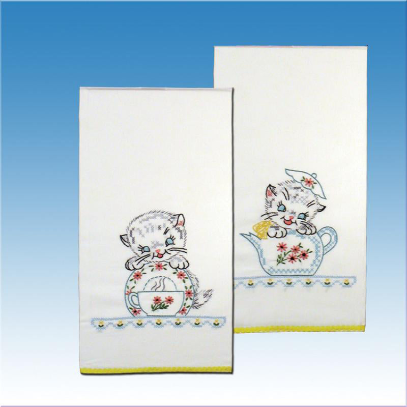 Cats and teacups embroidery towel sets