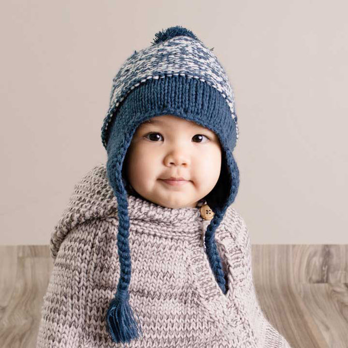 Marled Atlantic Blue Earflap Beanie Hat 1071